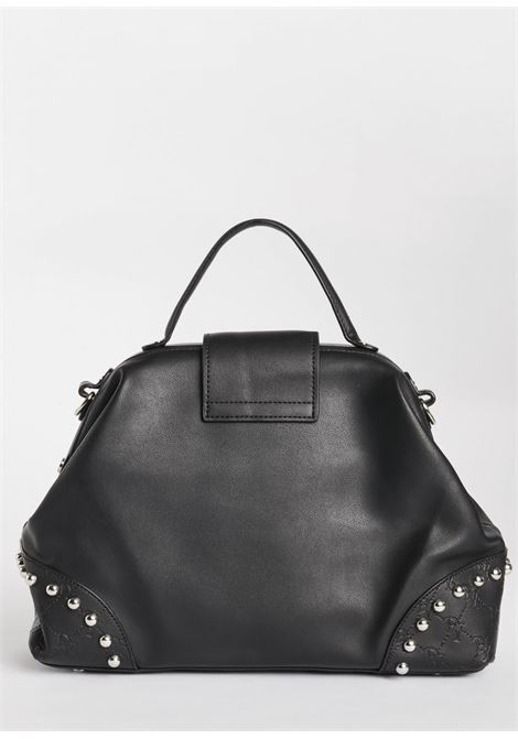 Top handle bag made in a soft leather effect texture finished with metal 