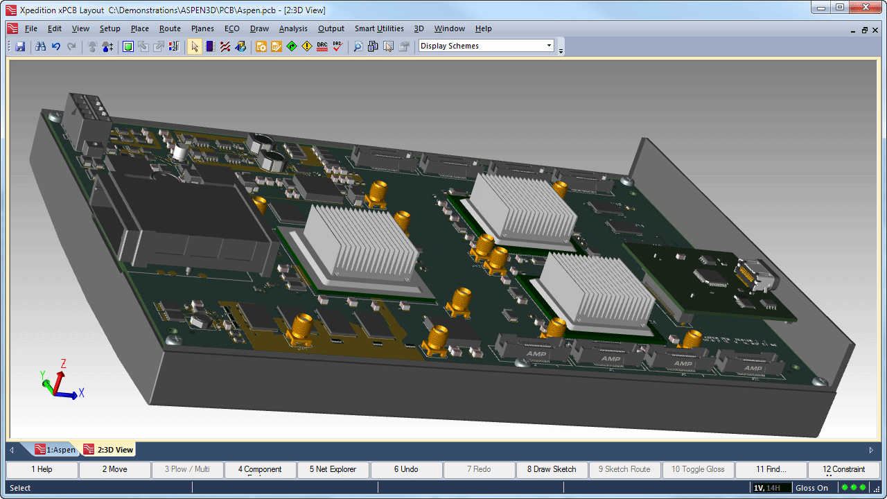 3d Layout Design Mentor Graphics Electronic Circuit With Pcb Mechanical Component Importing