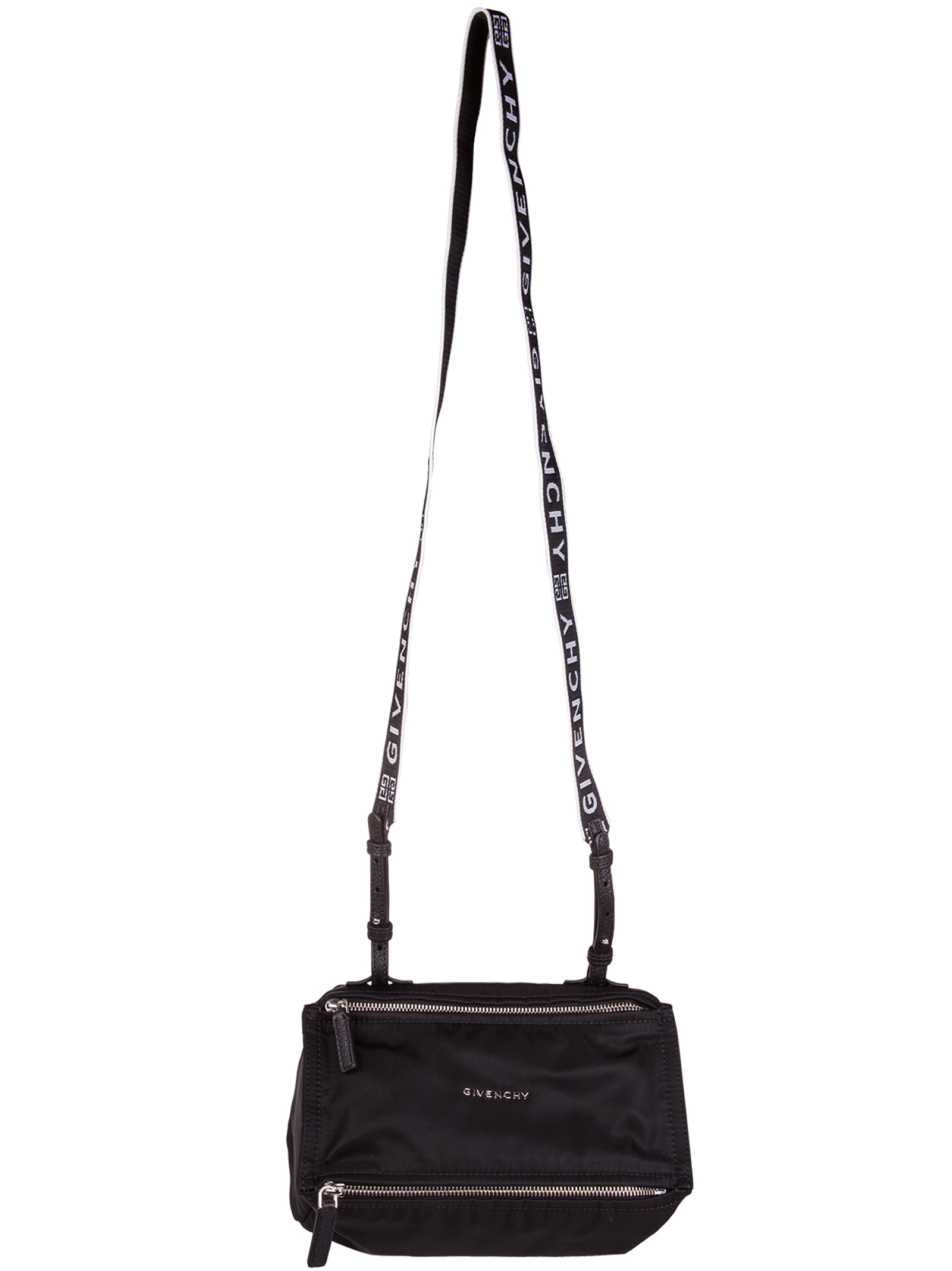 Givenchy. Black  ICON Pandora Mini shoulder bag in nylon with shoulder strap  with brand logos 480a6a1786706
