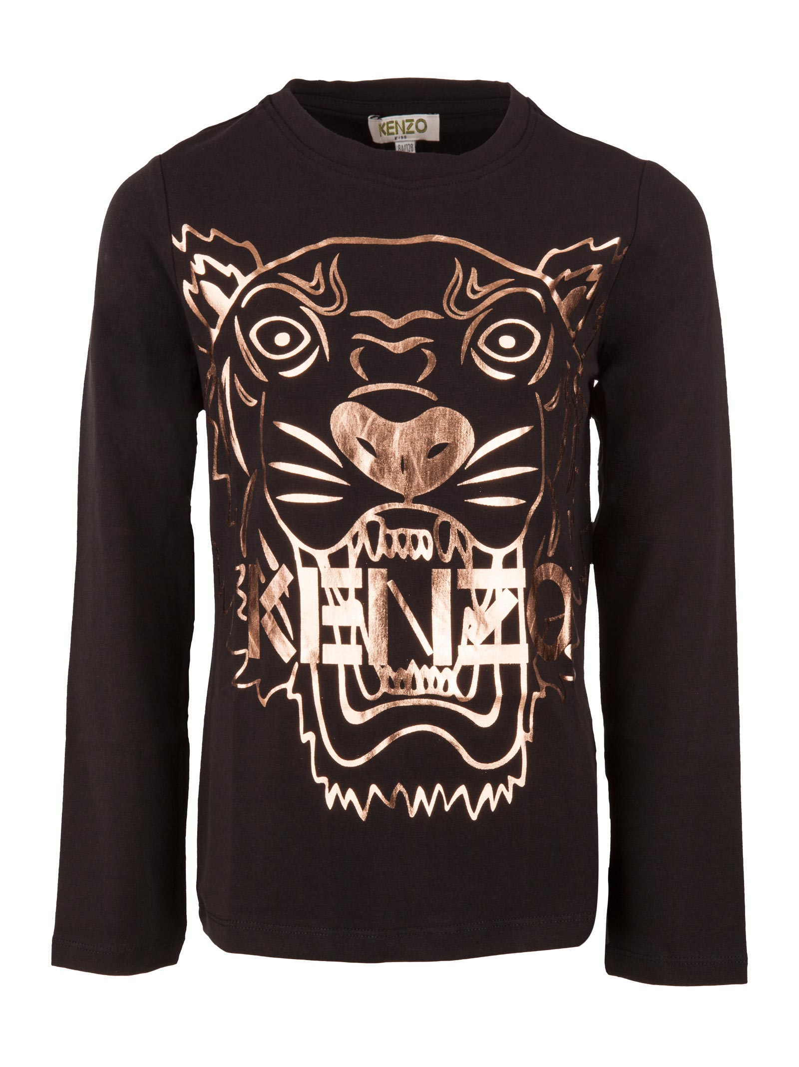 68759308a2 Kenzo Junior. Black t-shirt for girls in cotton with metallized tiger and  logo print