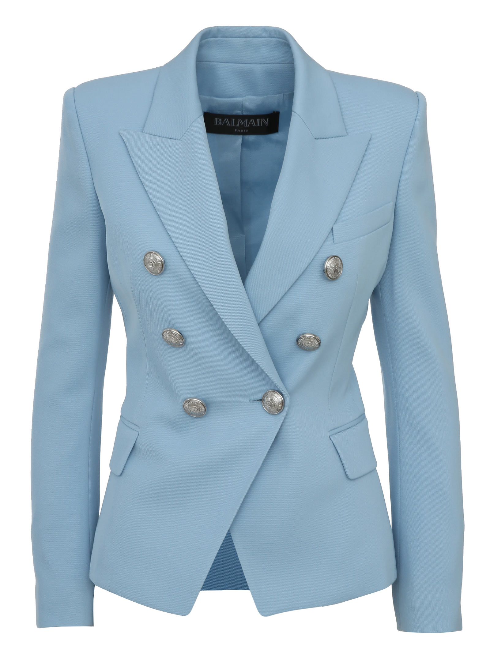 24986bb9d25 BALMAIN PARIS. Light blue *ICON double-breasted wool blazer ...