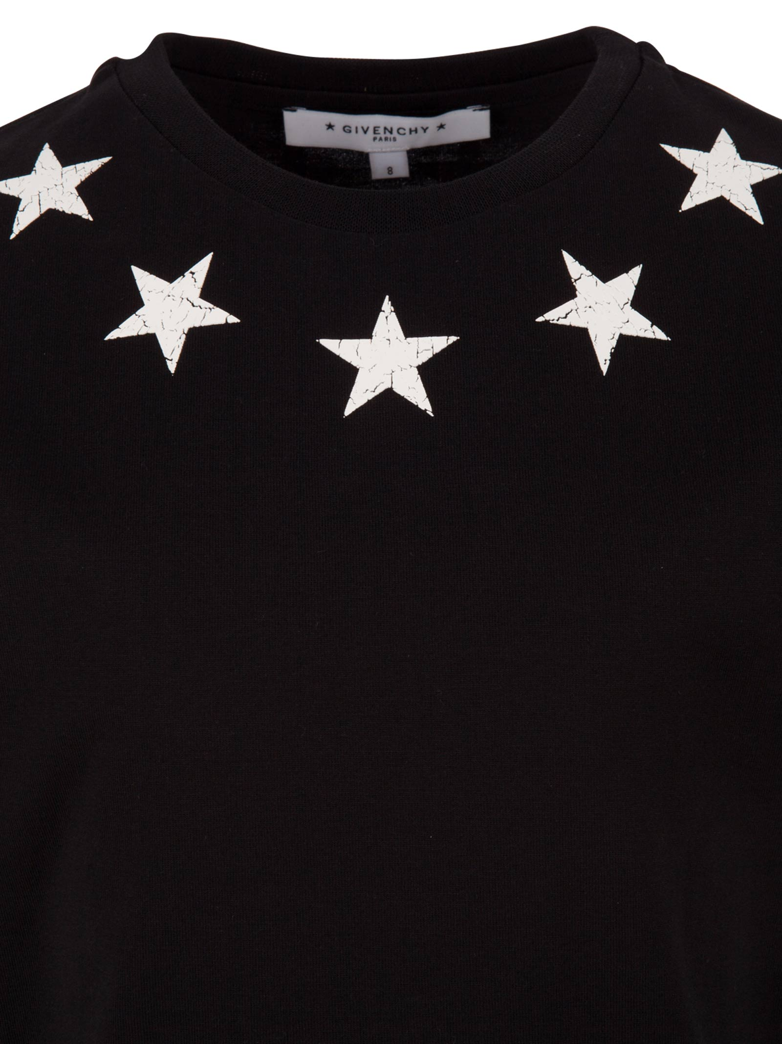 304158cb7 GIVENCHY kids. Black cotton t-shirt for boys with white rubberized stars ...