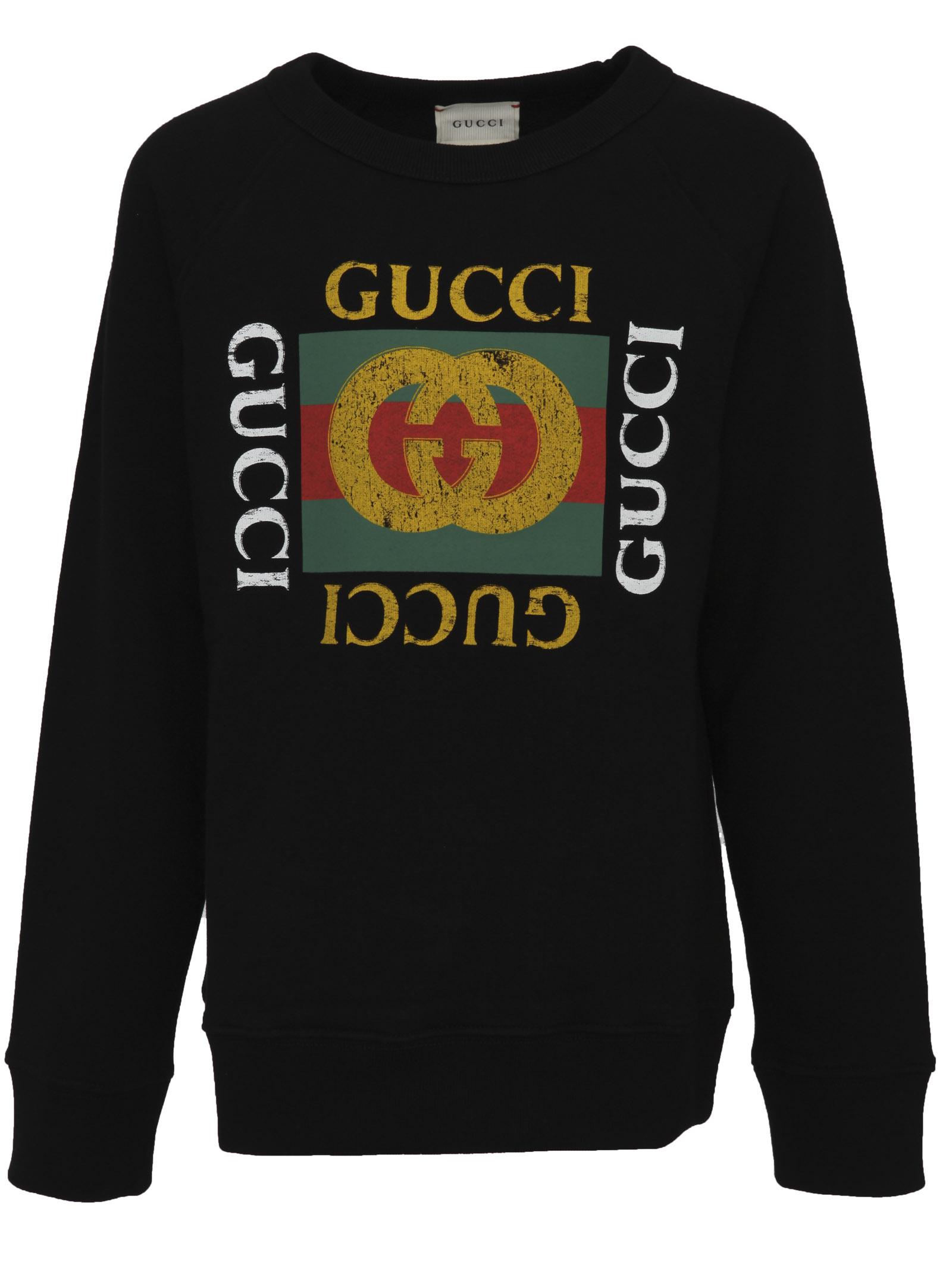 233fba7cb6 Gucci Junior. Felpa nera per bambini in jersey di cotone felpato con logo  Gucci Vintage