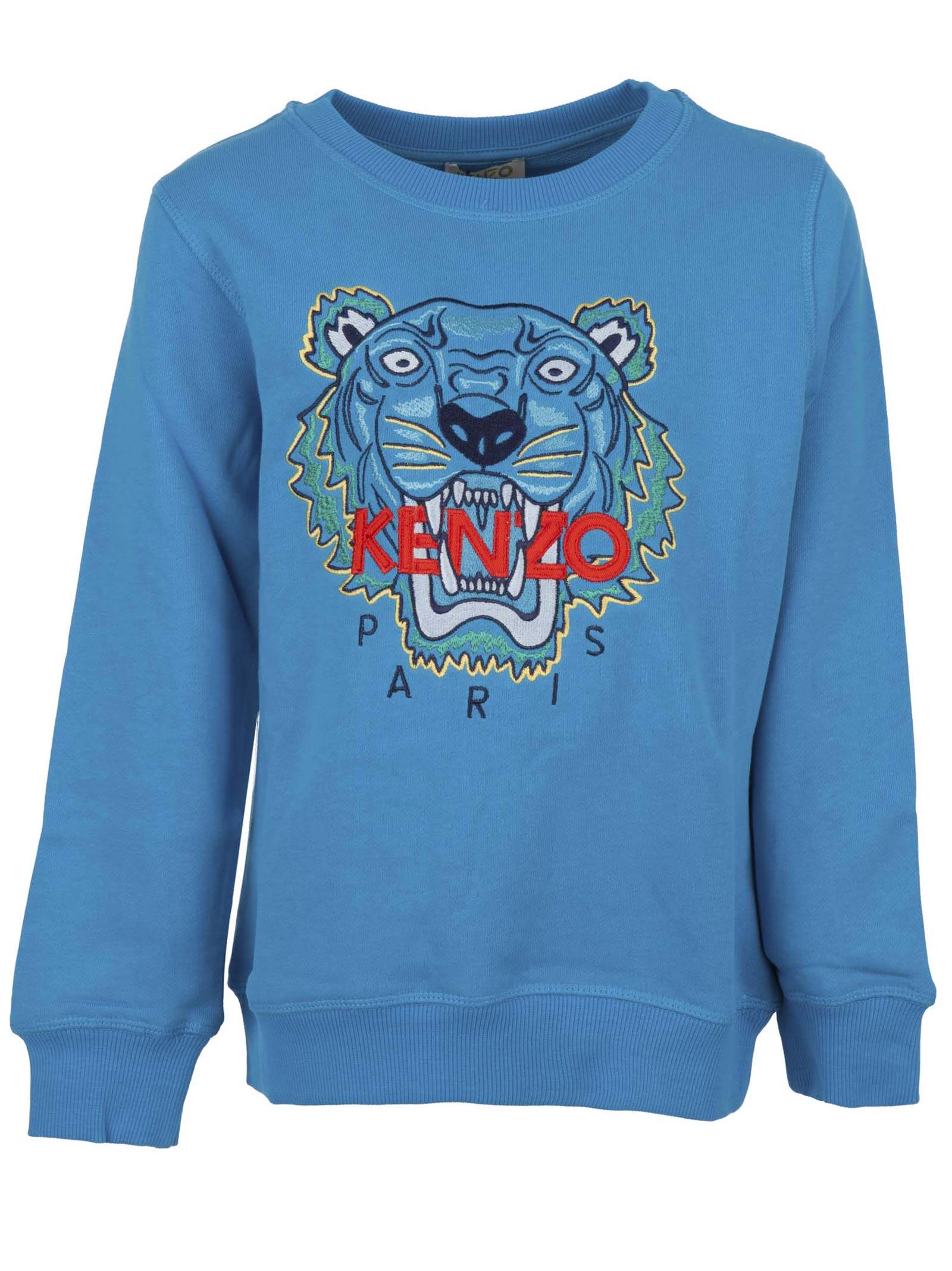 d84c14f7 Kenzo Junior. Tiger long-sleeved light blue cotton sweatshirt ...
