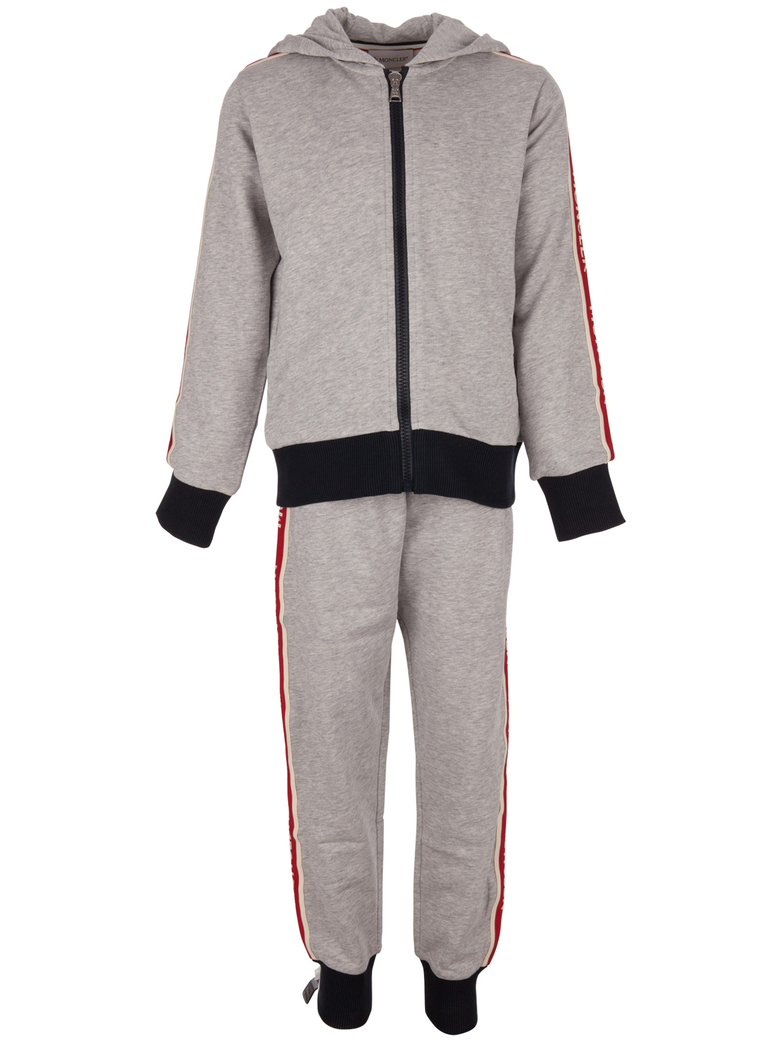 8bfb77fd078a36 Moncler Kids. Grey cotton jumpsuit for boys composed of sweatshirt with  hood and trackpants