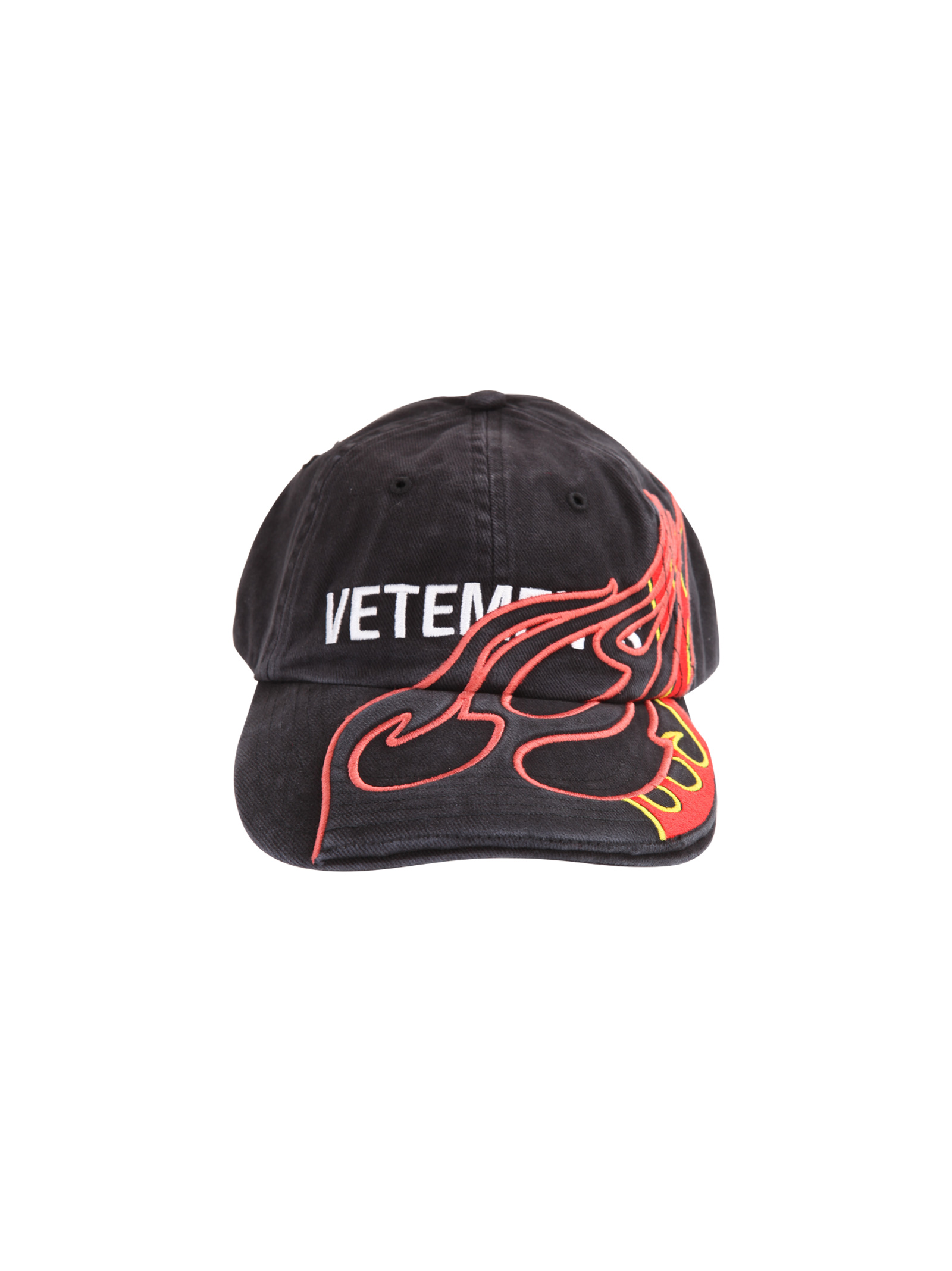 9a842cffe6938d Vetements. Black Vetements X Reebok baseball cap with embroidered flames ...