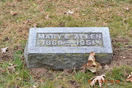 ALLEN, MARY L. - Branch County, Michigan   MARY L. ALLEN - Michigan Gravestone Photos