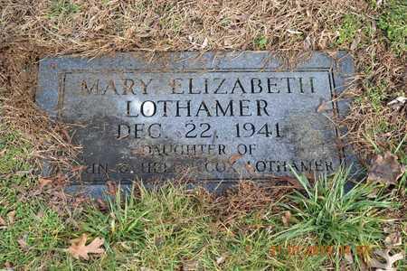 LOTHAMER, MARY ELIZABETH - Branch County, Michigan   MARY ELIZABETH LOTHAMER - Michigan Gravestone Photos