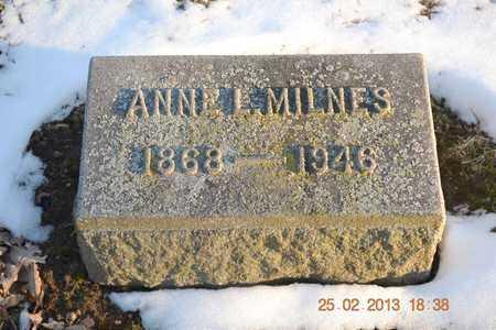 MILNES, ANNE L. - Branch County, Michigan | ANNE L. MILNES - Michigan Gravestone Photos
