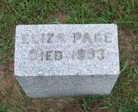 PAGE, ELIZA - Branch County, Michigan | ELIZA PAGE - Michigan Gravestone Photos