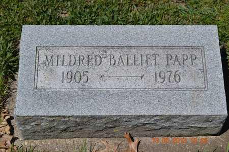BALLIET PAPP, MILDRED - Branch County, Michigan | MILDRED BALLIET PAPP - Michigan Gravestone Photos