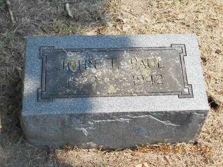 PAUL, JOHN T. - Branch County, Michigan   JOHN T. PAUL - Michigan Gravestone Photos