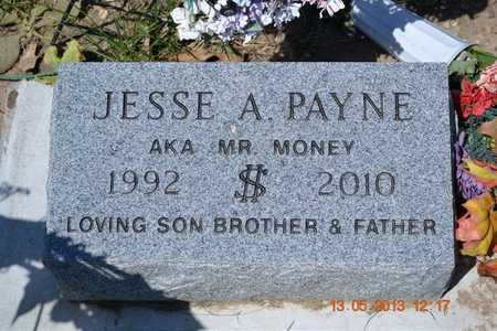 PAYNE, JESSE A.(CLOSEUP) - Branch County, Michigan | JESSE A.(CLOSEUP) PAYNE - Michigan Gravestone Photos