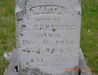 RANSBURG, MARY A.(CLOSEUP) - Branch County, Michigan   MARY A.(CLOSEUP) RANSBURG - Michigan Gravestone Photos