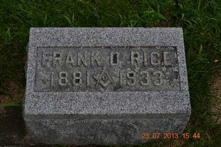 RICE, FRANK D. - Branch County, Michigan | FRANK D. RICE - Michigan Gravestone Photos