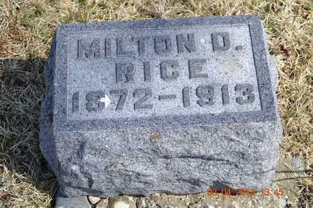 RICE, MILTON D. - Branch County, Michigan   MILTON D. RICE - Michigan Gravestone Photos