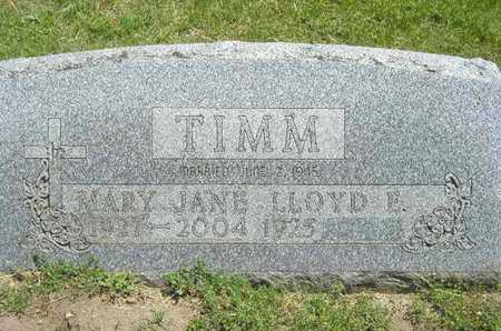 TIMM, MARY JANE - Branch County, Michigan | MARY JANE TIMM - Michigan Gravestone Photos