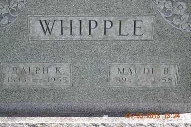 WHIPPLE, RALPH/MAUDE(CLOSEUP) - Branch County, Michigan | RALPH/MAUDE(CLOSEUP) WHIPPLE - Michigan Gravestone Photos