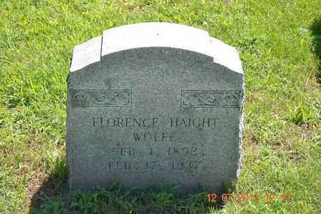 HAIGHT WOLFE, FLORENCE - Branch County, Michigan | FLORENCE HAIGHT WOLFE - Michigan Gravestone Photos