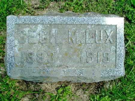 LUX, CECIL - Calhoun County, Michigan | CECIL LUX - Michigan Gravestone Photos