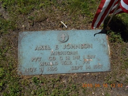 JOHNSON, AXEL E. - Marquette County, Michigan | AXEL E. JOHNSON - Michigan Gravestone Photos