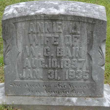 BAIN, ANNIE L - Alcorn County, Mississippi | ANNIE L BAIN - Mississippi Gravestone Photos