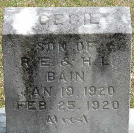 BAIN, CECIL - Alcorn County, Mississippi | CECIL BAIN - Mississippi Gravestone Photos