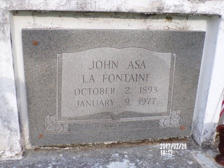LAFONTAINE, JOHN ASA - Hancock County, Mississippi | JOHN ASA LAFONTAINE - Mississippi Gravestone Photos