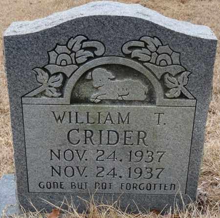 CRIDER, WILLIAM T - Tishomingo County, Mississippi | WILLIAM T CRIDER - Mississippi Gravestone Photos