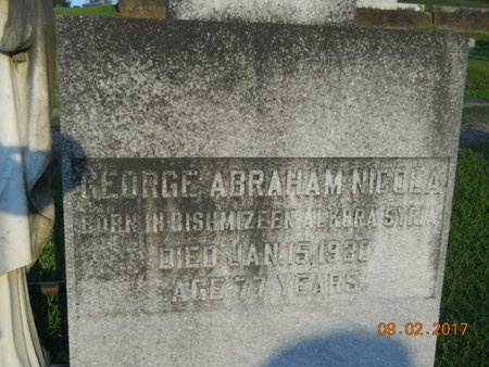 NICOLA, GEORGE ABRAHAM - Warren County, Mississippi | GEORGE ABRAHAM NICOLA - Mississippi Gravestone Photos
