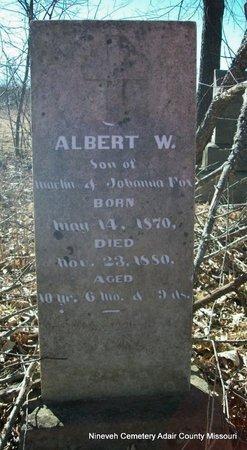 FOX, ALBERT W - Adair County, Missouri   ALBERT W FOX - Missouri Gravestone Photos
