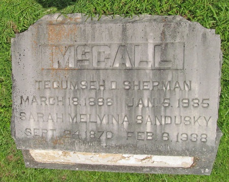 MCCALL, TECUMSEH D SHERMAN - Barry County, Missouri | TECUMSEH D SHERMAN MCCALL - Missouri Gravestone Photos