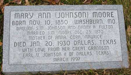 JOHNSON MOORE, MARY ANN - Barry County, Missouri | MARY ANN JOHNSON MOORE - Missouri Gravestone Photos