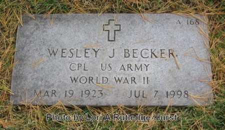 BECKER, WESLEY J VETERAN WWII - Greene County, Missouri | WESLEY J VETERAN WWII BECKER - Missouri Gravestone Photos