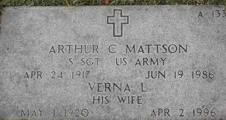 MATTSON, ARTHUR C - Greene County, Missouri   ARTHUR C MATTSON - Missouri Gravestone Photos