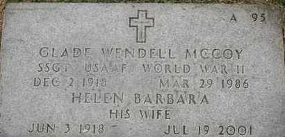 MCCOY, GLADE WENDELL - Greene County, Missouri   GLADE WENDELL MCCOY - Missouri Gravestone Photos