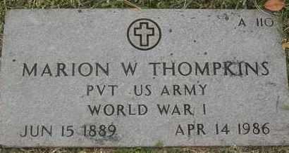 THOMPKINS, MARION W - Greene County, Missouri | MARION W THOMPKINS - Missouri Gravestone Photos