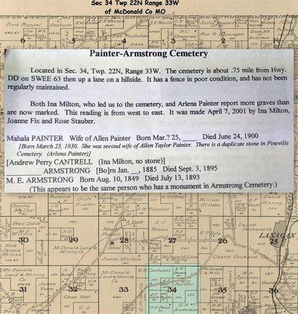 PAINTER, MAHALA - McDonald County, Missouri   MAHALA PAINTER - Missouri Gravestone Photos