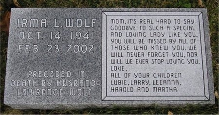 PARKER WOLF, IRMA LOUISE - McDonald County, Missouri | IRMA LOUISE PARKER WOLF - Missouri Gravestone Photos