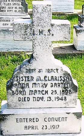 BARTEN, ANNE CLARISSA SISTER - Nodaway County, Missouri | ANNE CLARISSA SISTER BARTEN - Missouri Gravestone Photos