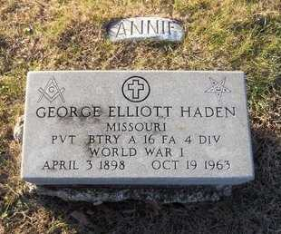 HADEN, GEORGE ELLIOTT - Pike County, Missouri | GEORGE ELLIOTT HADEN - Missouri Gravestone Photos