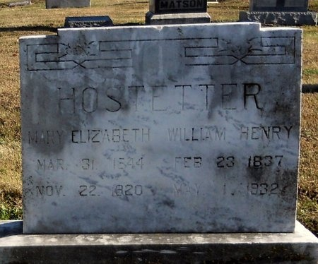 HOSTETTER, WILLIAM HENRY - Pike County, Missouri | WILLIAM HENRY HOSTETTER - Missouri Gravestone Photos