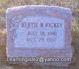 RICKEY, BERTIE B - Pike County, Missouri | BERTIE B RICKEY - Missouri Gravestone Photos