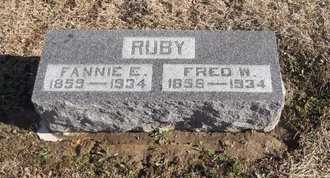 RUBY, FANNIE ELIZABETH - Pike County, Missouri | FANNIE ELIZABETH RUBY - Missouri Gravestone Photos