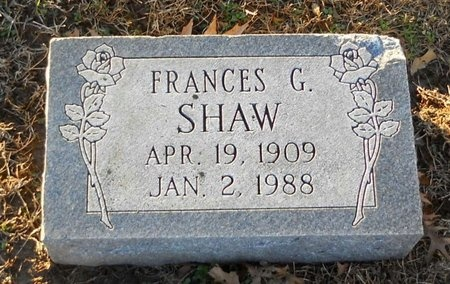 SHAW, FRANCES G - Pike County, Missouri | FRANCES G SHAW - Missouri Gravestone Photos