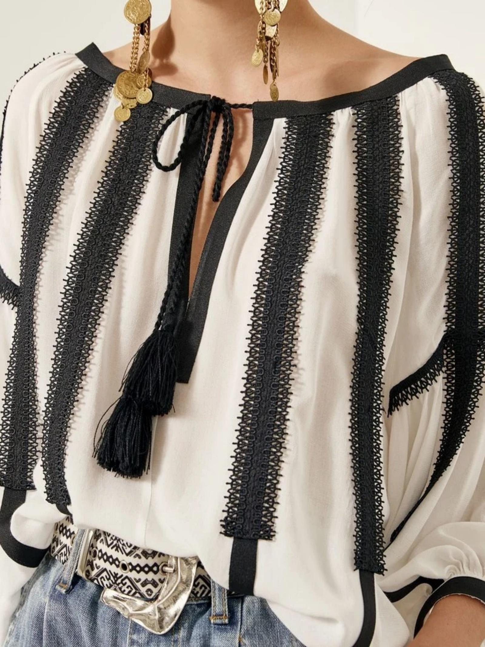 Blusa con nappine ACC ESS Fashion | Blusa | 2008-304OFF-WHITE
