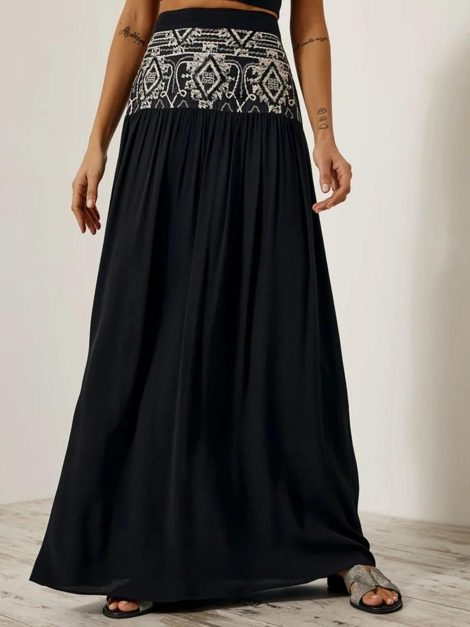 Maxi gonna etnico ACC ESS Fashion   Gonna   6026-307BLACK