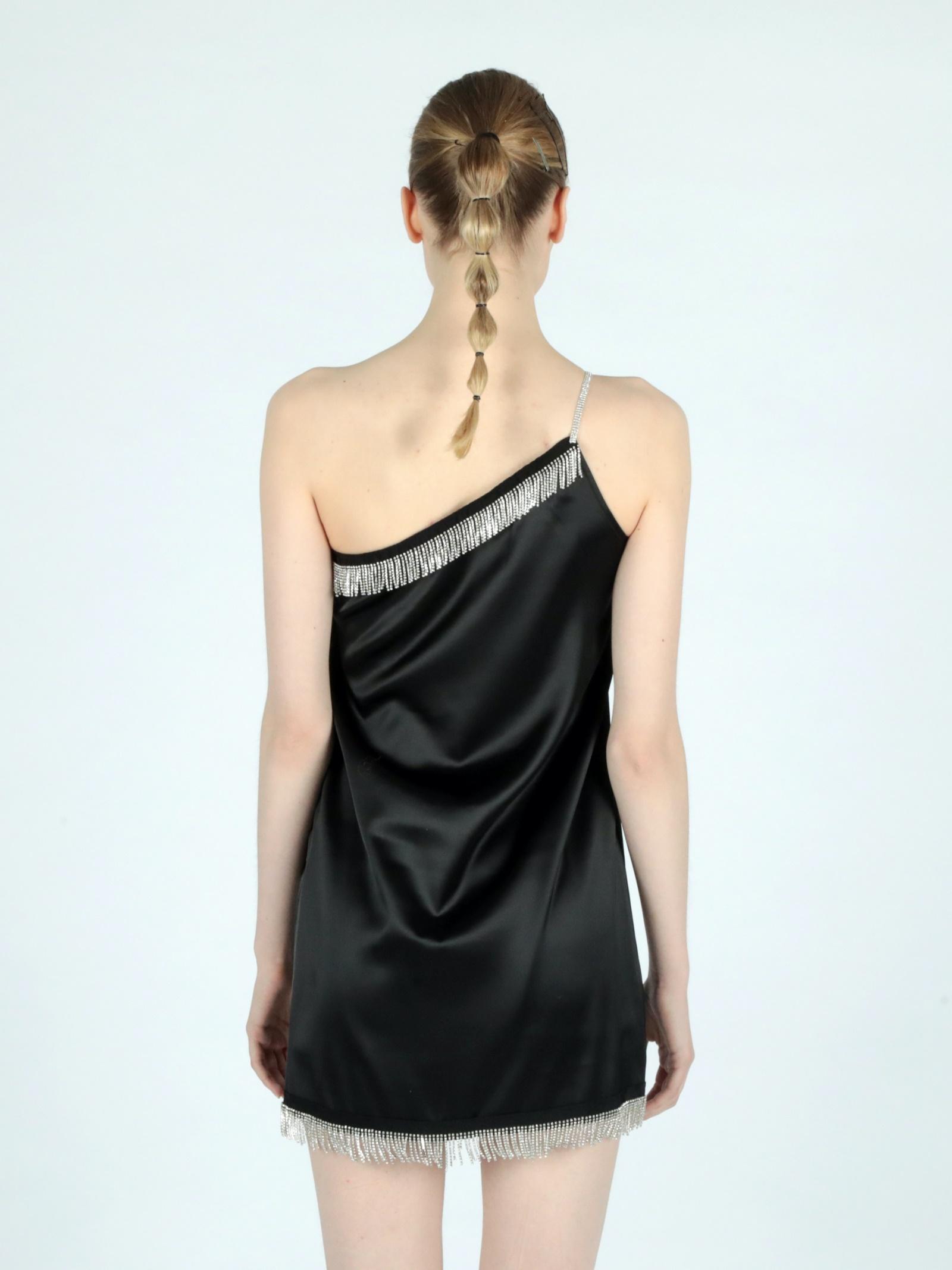strass mono shoulder dress Le Volière   Abito   WS21D005BBLACK