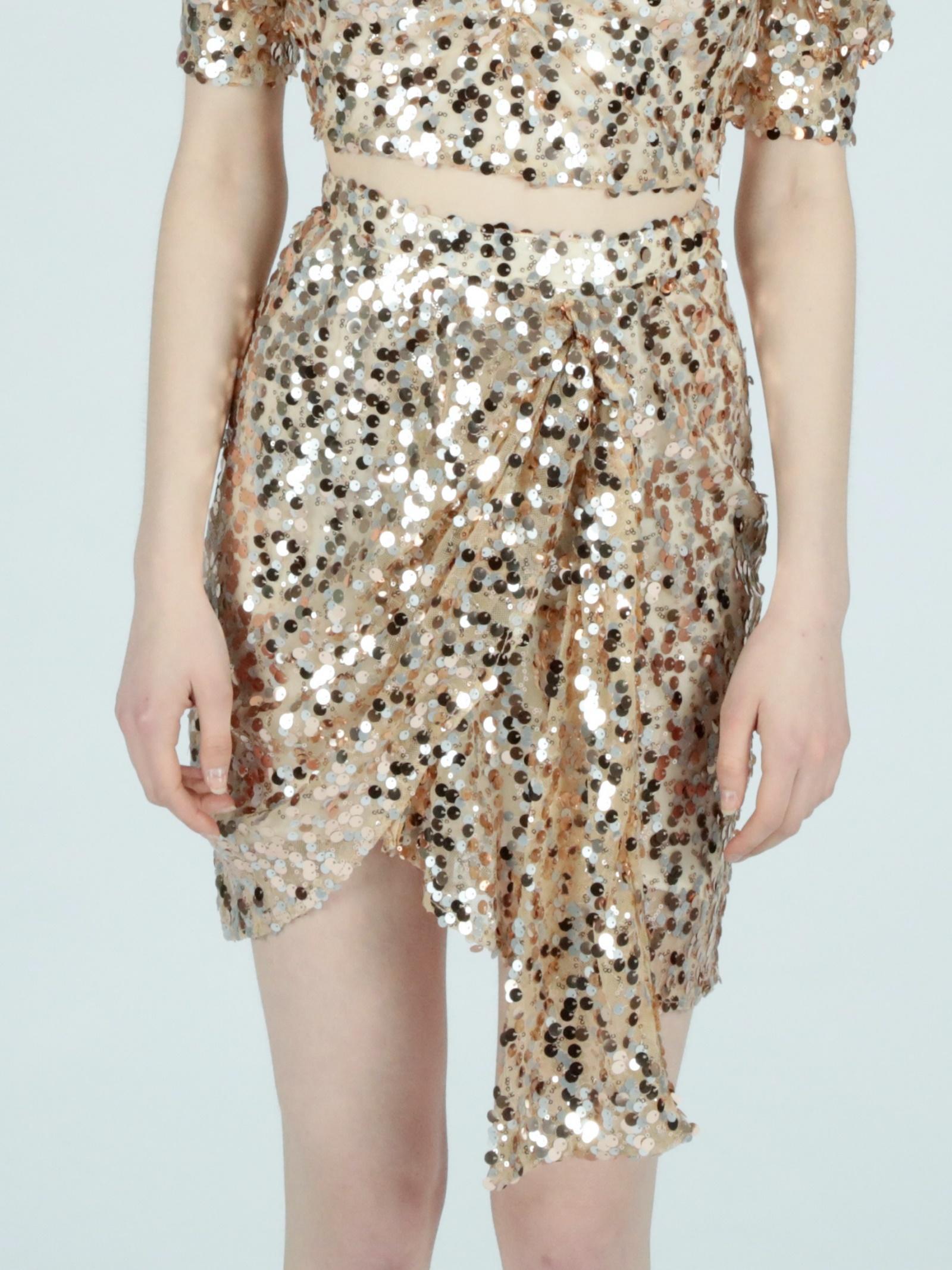 golden sequins skirt Le Volière   Gonna   WS21S063GGOLD