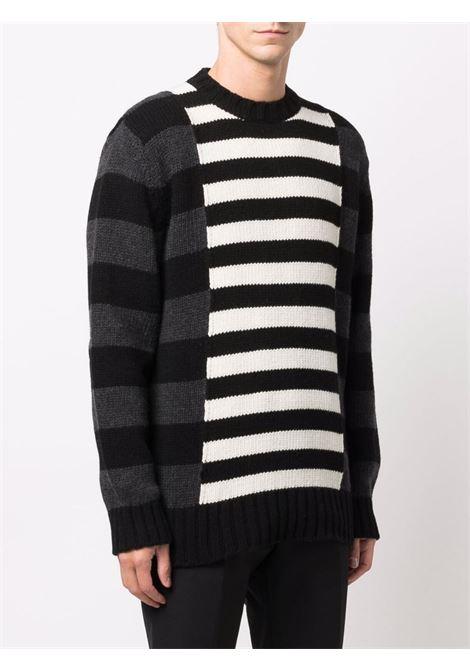 wool stripes round neck jumper Les Hommes   Maglia   LLK113654U9018